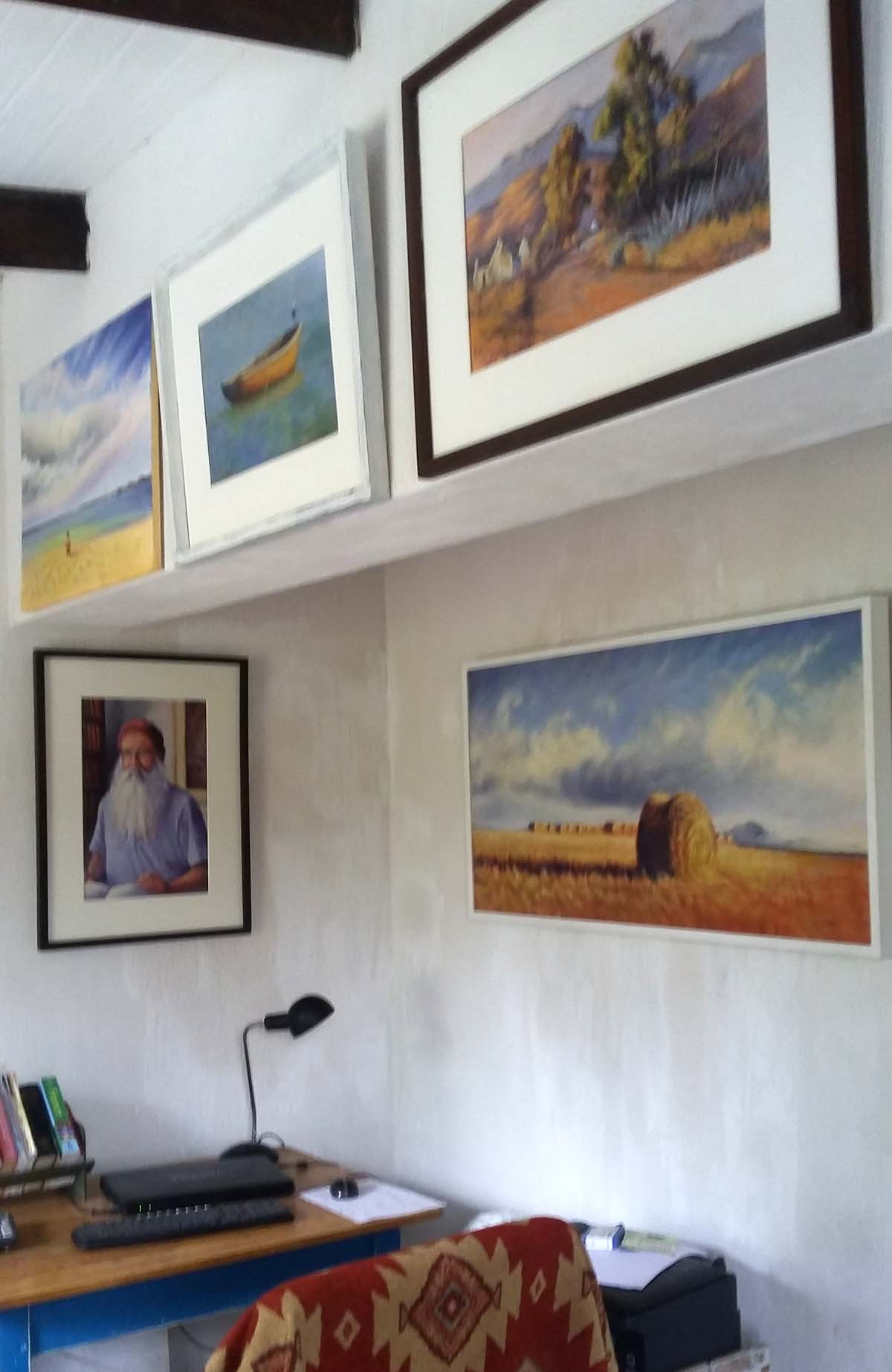 Halfway house: A few of Linda's paintings hanging in her study